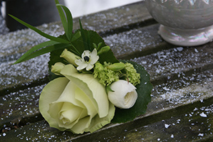 Corsage wit-groen